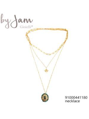 3-in-1 ketting goud hanger ster groen By Jam