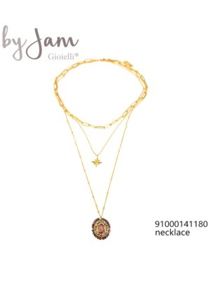 3-in-1 ketting goud hanger ster roze By Jam