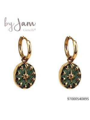 By Jam oorbellen Green Stone goudkleurig
