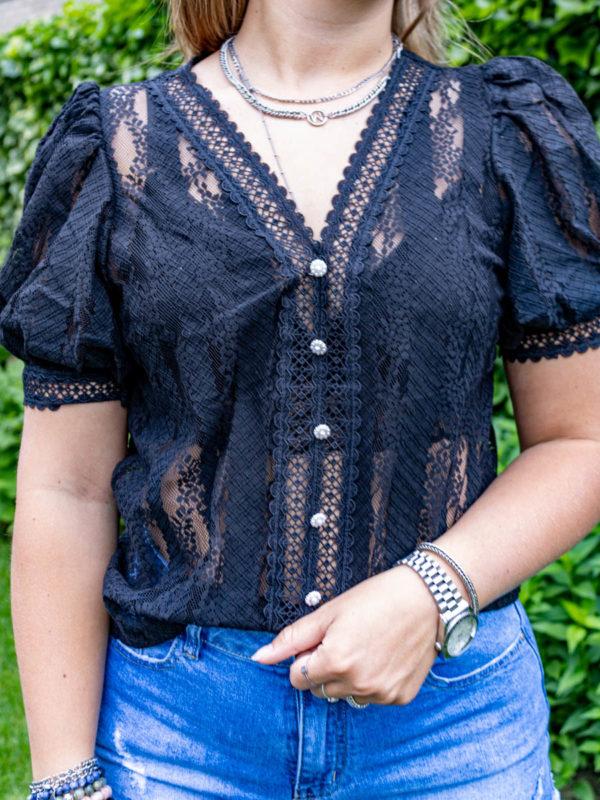 Kante zwarte blouse