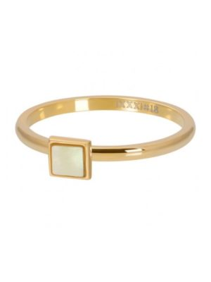 IXXXI RING WHITE SHELL STONE SQUARE goud