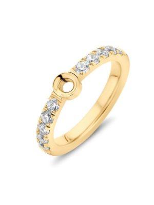 Melano Twisted Crystal Ring goudkleurig