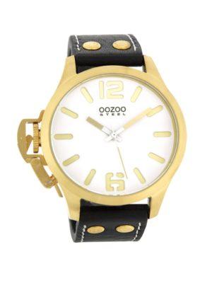 OOZOO Steel OS058 - Horloge - 46 mm - Leer - Zwart
