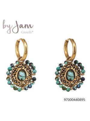 Oorring goud Sweet Candy blauw turkoois By Jam
