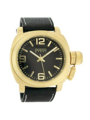 Oozoo Horloge Steel Zwart en Goud Os152