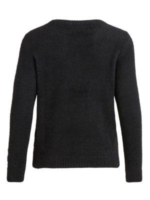 Vila Vifeami o-neck l:s knit top:su black back
