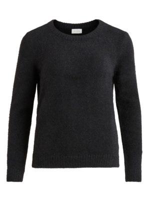 Vila Vifeami o-neck l:s knit top:su black front