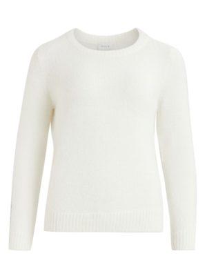 Vila Vifeami o-neck l:s knit top:su white front