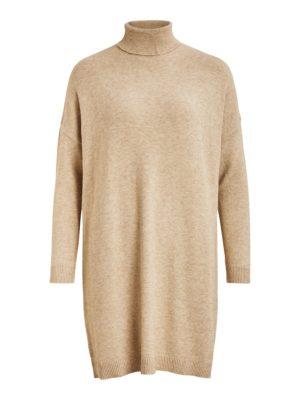 Vila viril rollneck l/s knit tunic natural melange